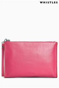 Whistles Pink/Orange Jaspar Contrast Wristlet
