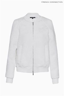 French Connection White Embroidered Twill Bomber Jacket