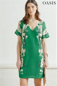 Oasis Green Tropical Cold Shoulder Dress