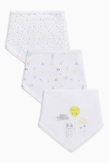 Delicate Print Regular Bibs Three Pack
