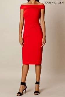 Karen Millen Red Bardot Neckline Dress