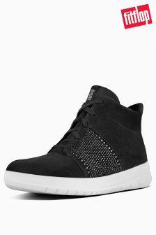 FitFlop™ Black Sporty Pop X Crystal High Top Trainer