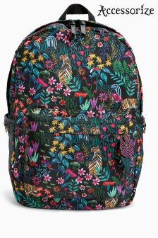 Accessorize Black Jungle Paradise Printed Backpack