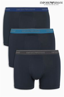 Emporio Armani Contrast Waistband Trunks Three Pack