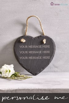 Personalised Real Slate Heart By Loveabode