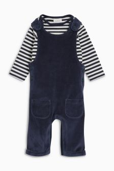 Velour Dungarees (0mths-2yrs)