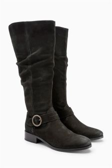 Slouch Buckle Long Boots