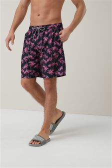 Palm Tree Longer Length Swim Shorts