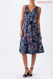 Monsoon Blue Amile Print Dress