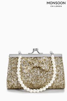 Monsoon Gold Bedazzle Bow Mini Bag