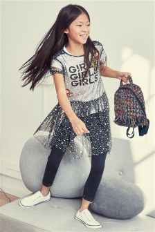 Mesh Dress, T-Shirt And Leggings Set (3-16yrs)