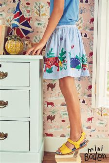 Boden Blue Jungle Appliqué Skirt