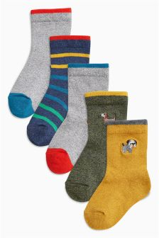 Embroidery Socks Five Pack (Younger Boys)