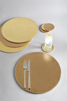 Set Of 8 Gold Round Placemats And Coasters