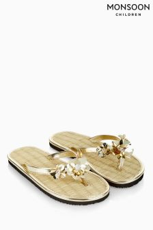 Monsoon Gold Sequin Flower Seagrass Flip Flop