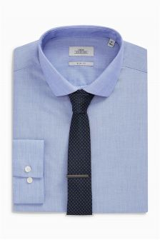 Slim Fit Shirt With Tie And Tie Clip Set