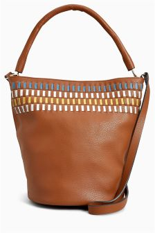 Weave Detail Bucket Bag