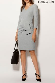 Karen Millen Grey Folded Feminine Tailoring Dress