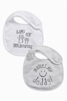 Mummy And Daddy Slogan Regular Popper Bibs Two Pack