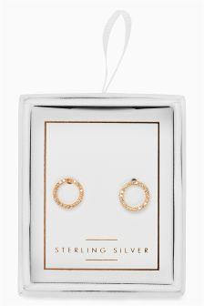 Stone Set Open Circle Earrings