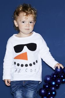 Long Sleeve Mr Cool Snowman T-Shirt (3mths-6yrs)