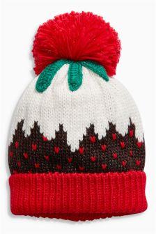 Christmas Pudding Pom Hat