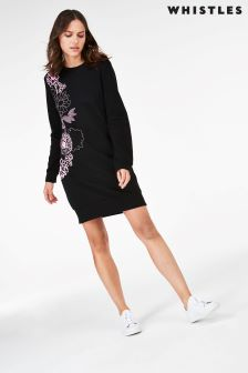 Whistles Black Print Sweat Dress