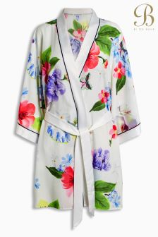 B By Ted Baker White Forget Me Not Floral Kimono Robe