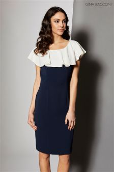 Gina Bacconi Navy Moss Crepe Dress With Frill Collar