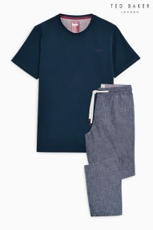 Ted Baker Navy Lede Herringbone Lounge Set