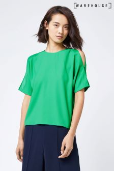 Warehouse Bright Green Tie Back Sleeve Detail Top