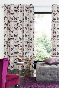 Photographic Butterfly Print Eyelet Curtains