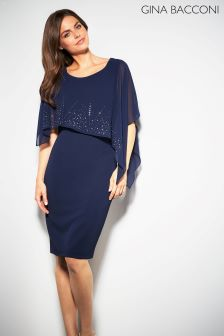 Gina Bacconi Navy Gabriella Beaded Cape Dress