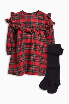 Tartan Ruffle Dress And Tights (3mths-6yrs)