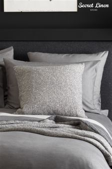 Secret Linen Company Dark Grey Brushed Effect Pillowcase