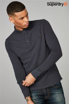 Superdry Navy City Long Sleeve Polo