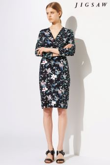 Jigsaw Black Falling Freesia Jersey Dress
