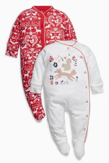 Fox Sleepsuits Two Pack (0mths-2yrs)