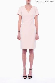 French Connection Pale Pink Short Sleeve V-Neck Dress