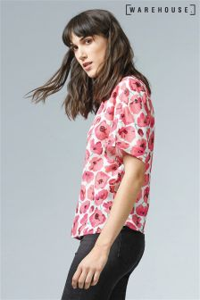 Warehouse Cream Poppy Print T-Shirt