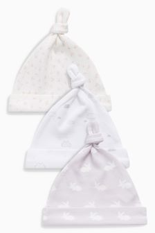 Bunny Tie Top Hats Three Pack (0-18mths)