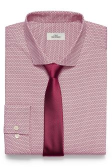 Printed Slim Fit Shirt With Tie Set