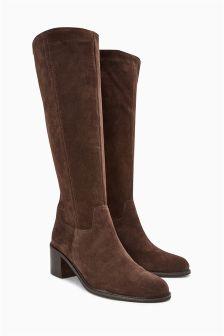 Suede Long Block Heel Boots
