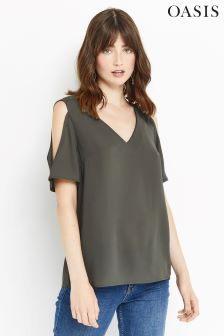 Oasis Khaki Cold Shoulder Top