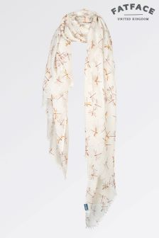 Fat Face White Dragonfly Textured Base Scarf