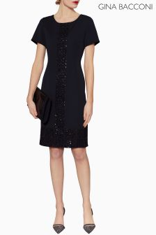 Gina Bacconi Black Matilda Sequin Lace Trim Dress