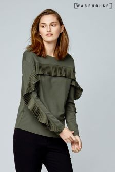Warehouse Khaki Frill Sweat
