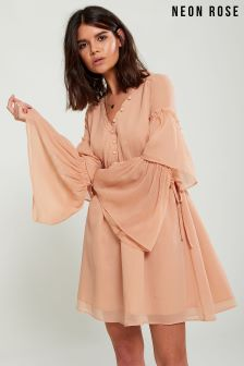 Neon Rose Nude Button Through Romantic Ruffle Dress