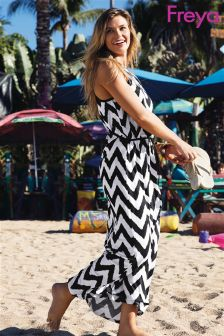Freya Black/White Making Waves Halter Maxi Dress