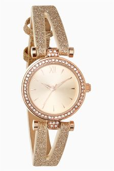 Glitter V Strap Watch